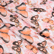White-Orange and Black Butterfly Silk Crepe Fabric-18104
