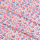 White-Orange and Pink Flower Silk Crepe Fabric-18120