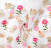 White Organza Fabric With Golden and Pink Flower Embroidery-51058