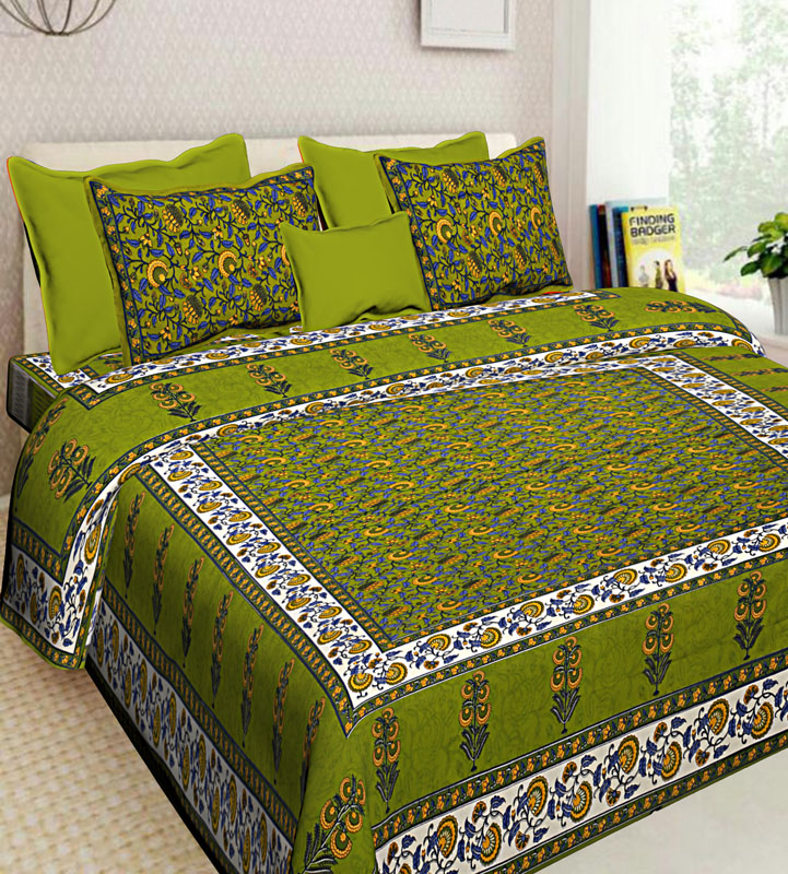 White Parrot Green Cotton Jaipuri Bedsheet-595