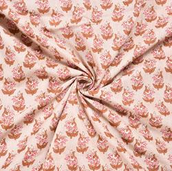 White Peach Floral Block Print Cotton Fabric-28560