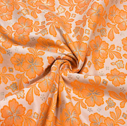 White Peach Floral Brocade Silk Fabric-12266