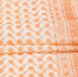 White Peach Flower Lucknowi Chikan Fabric-95042