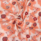 White Peach and Gray Block Print Cotton Fabric-14828
