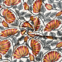 White Peach and Gray Floral Block Print Cotton Fabric-28565