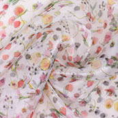White Peach and pink Digital Organza Silk Fabric-51545