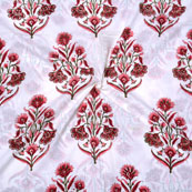 White Pink Block Print Cotton Fabric-14706