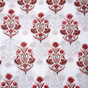 White Pink Block Print Cotton Fabric-14713