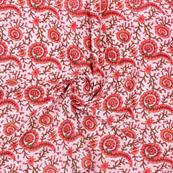 White Pink Block Print Cotton Fabric-14886