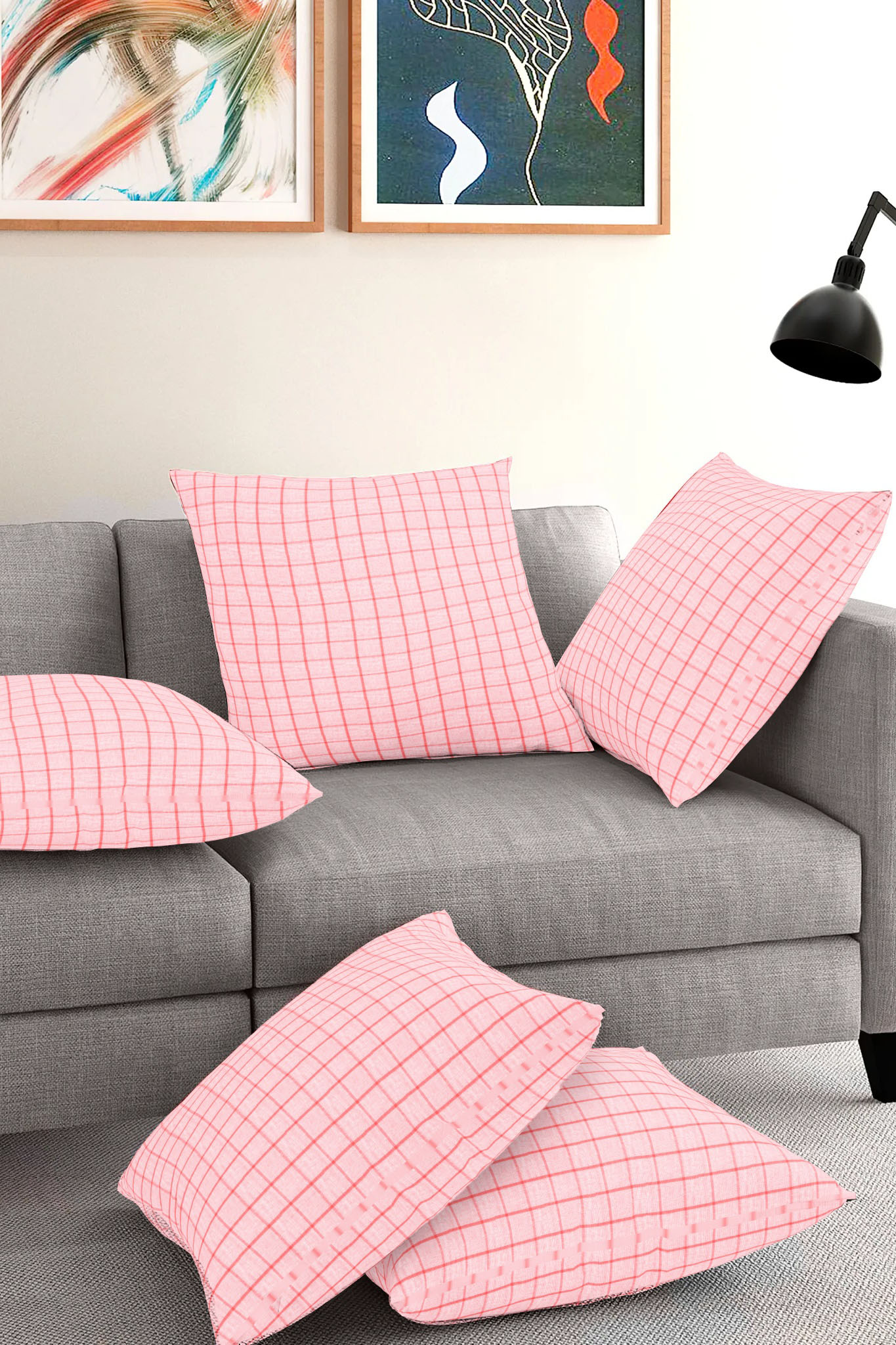 Set of 5-White Pink Cotton Cushion Cover-35382-16x16 Inches