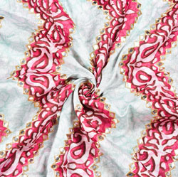 White Pink Digital Position Print Chinon Embroidery Fabric-19293