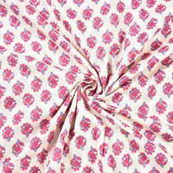 White Pink Floral Block Print Cotton Fabric-28503
