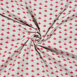 White Pink Floral Block Print Cotton Fabric-28547