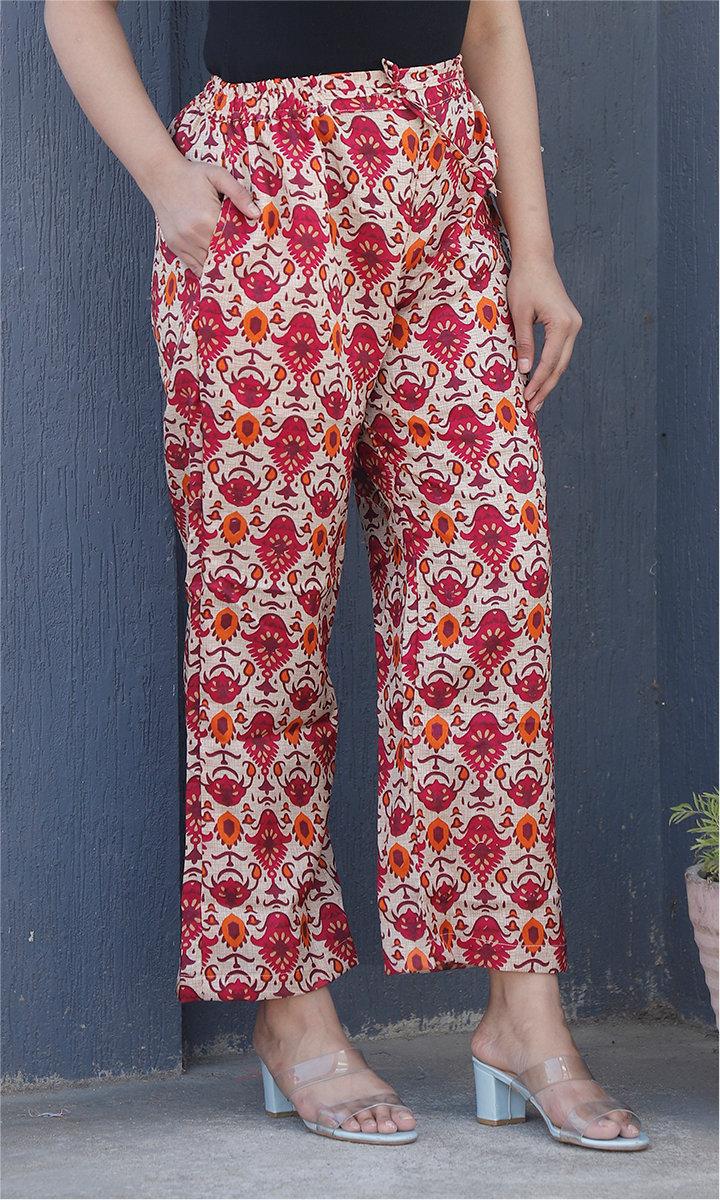 White Pink Manipuri Silk Palazzo Pant-34498