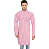 White Pink Stripes Handloom Khadi Long Kurta-33183