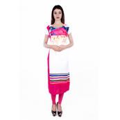 White-Pink and Blue Cap Sleeve Printed Rayon Kurti-3027