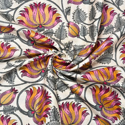 White Pink and Gray Floral Block Print Cotton Fabric-28563