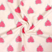 White Pink and Gray Ikat Block Print Cotton Fabric-14849