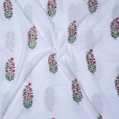 White Pink and Green Block Print Cotton Fabric-14711