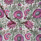 White Pink and Green Block Print Cotton Fabric-14630