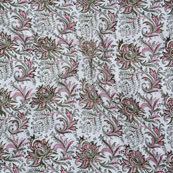 White Pink and Green Block Print Cotton Fabric-14739