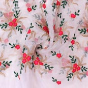 White Pink and Green Floral Embroidery Organza Silk Fabric-51685