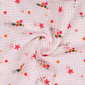 White Pink and Green Floral Embroidery Organza Silk Fabric-51694
