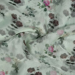 White Pink and Green Floral Organza Silk Fabric-22112