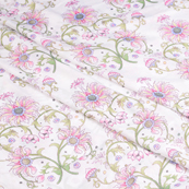 White-Pink and Green Floral Silk Crepe Fabric-18106