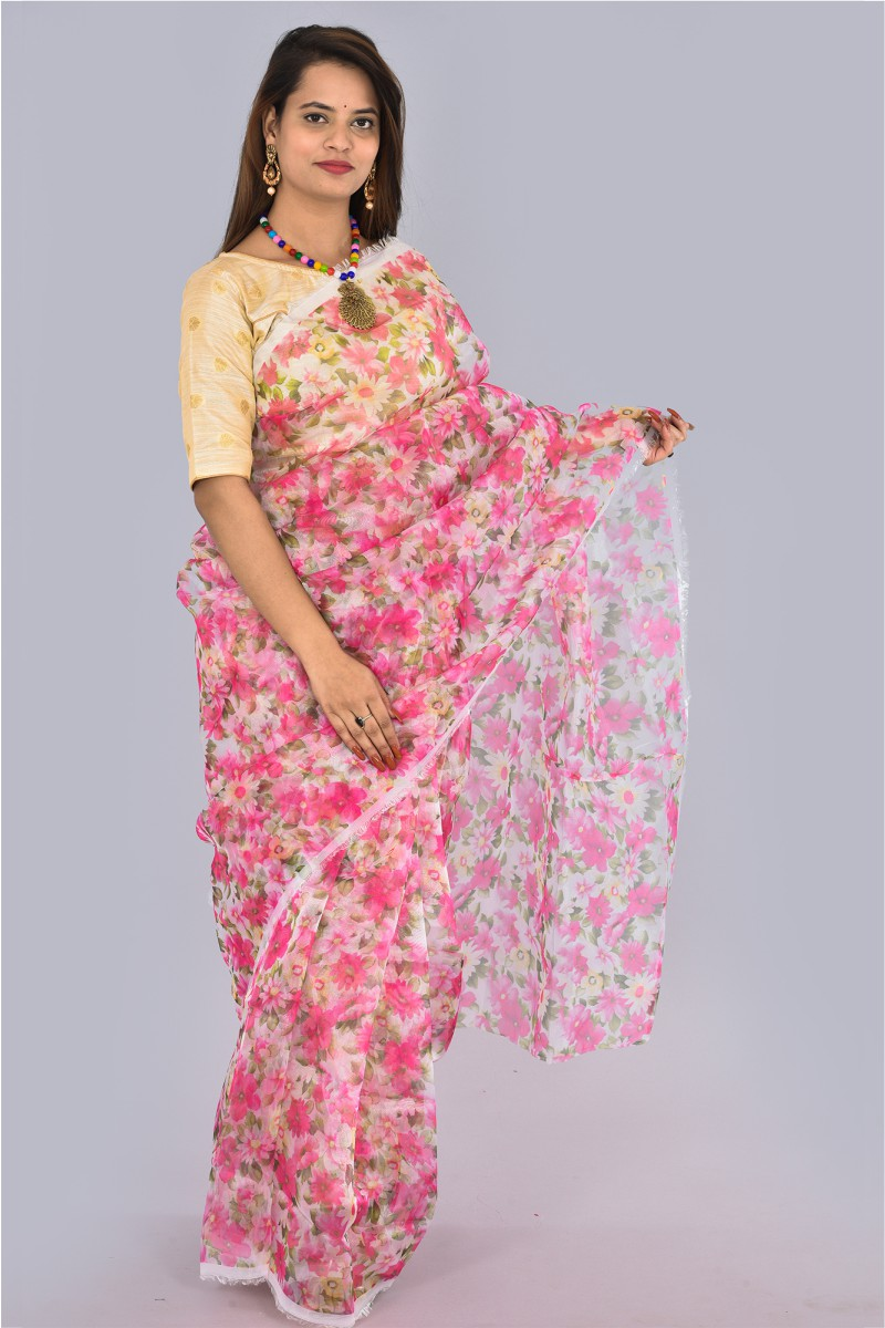 White Pink and Green Organza Digital Printed Saree-36192