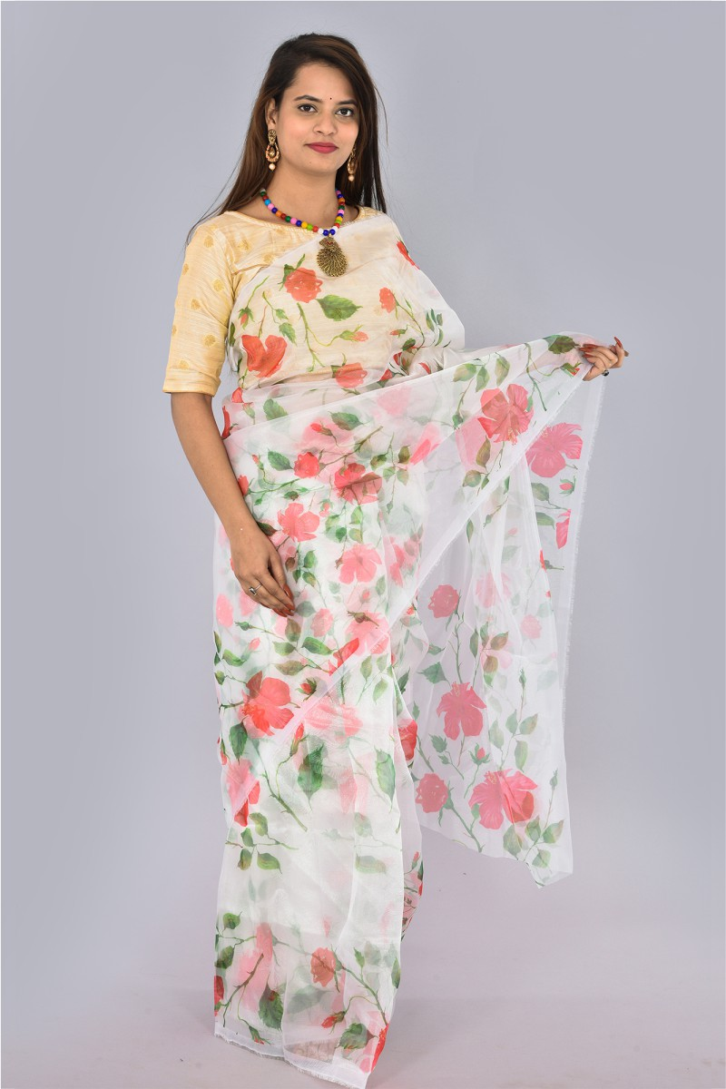 White Pink and Green Organza Digital Printed Saree-36193