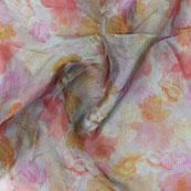 White Pink and Orange Digital Organza Silk Fabric-51527
