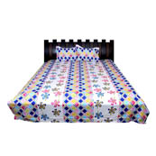 White-Pink and Yellow Rajasthani Cotton Double Bed Sheet-0D4