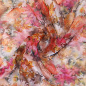 White Pnk and Yellow Digital Organza Silk Fabric-51526