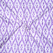 White Purple Block Print Cotton Fabric-14743