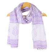 White Purple Floral Cotton Block Print Dupatta With Pom Pom-33111