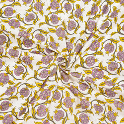 White Purple Floral Cotton Fabric-28100