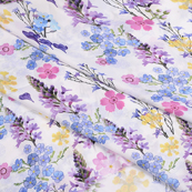 White-Purple and Pink Flower Silk Crepe Fabric-18116