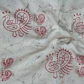 White Red Block Print Cotton Fabric-14791