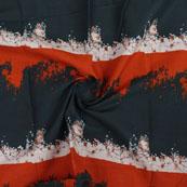 White Red Block Print Cotton Fabric-14824