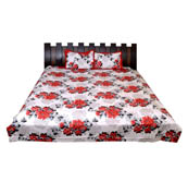 White-Red and Black Floral Printed Cotton Double King Size Bed Sheet-0G21