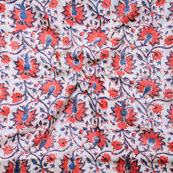 White Red and Blue Block Print Cotton Fabric-14641