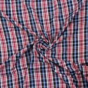 White-Red and Blue Checks Rayon Shirt Fabric-40265