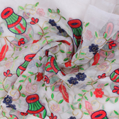 White-Red and Green Flower Organza Embroidery Fabric-51415