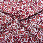 White-Red and Pink Floral Design Block Print Cotton Fabric-14190