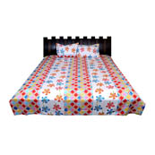White-Red and Sky Blue Floral Cotton Double Bed Sheet-0D54