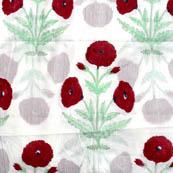 White-Red flower cotton mughal block print fabric-4550