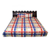 White-Red nd Blue Checks Printed Cotton Double Bed Sheet-0G8