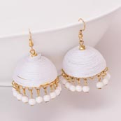 White Silk Handcrafted Jhumki with White pearls Drop for Women