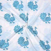 White SkyBlue Block Print Cotton Fabric-14717